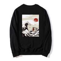2020 Японский Смешные Cat Wave Printed тонкие толстовки Весна 100% хлопок Япония Стиль хип-хоп черный Повседневный фуфаек Streetwear 3XL