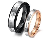 Dele e dela prometem anel define 316 amantes de aço de titânio anéis embutimento jóias de cristal para mulheres dos homens