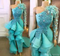 2020 Mint grün Meerjungfrau Abendkleider mit Federn Elegante lange Side Split Eine Schulter plus Größe Prom Kleid 2020 formale Partykleid