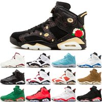 6 6S Men Basketball Shoes CNY Carmine Black Cat Green Suede ...