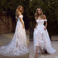 Элегантные богемные свадебные платья 2020 a Line Ofter Appleiqued Tulle без спинки длинные летние пляжные платья BM1510