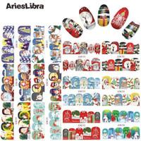 AriesLibra Tırnak Çıkartması Elek Noel Serisi Snowman Nail Art Sticker Güzellik Dekorasyon Aksesuar Su Çıkartma aktar