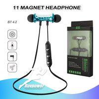 Neues Paket Bluetooth Kopfhörer Magnetic drahtlose XT11 Rennen Sport Kopfhörer BT 4.2 Headset mit Mikrofon Earbud für Smartphones