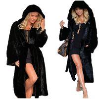 معطف الشتاء النساء فو الفراء الألوان الصلبة سترة مقنع منفوش الصوف كم طويل معطف فروي مع الأسود والأبيض عادية الحجم الآسيوية S-3XL