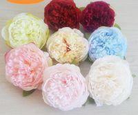 50PCS 10cm 인공 꽃 실크 모란 꽃 머리 웨딩 파티 장식 시뮬레이션 가짜 꽃 머리 홈 장식 용품