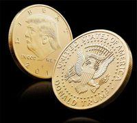2019 Or Badge Métier En Métal Argenté Américain 45ème Président Donald Trump Sculpture Pièce commémorative non monétaire Monnaie Collection EAGLE