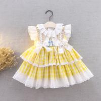 Bebek Kız Bunny Baskılı Dantel Parti Elbise Çocuk Dantel Hollow Falbala Fly Kollu Elbise Yeni Çocuklar Yaylar Şerit Ekose Kravat Falbala Elbise A2525