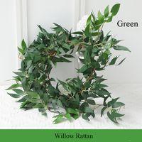1.7 M Ramo de Salgueiro Artificial Ivy Verde Folha Guirlanda Plantas Videira Planta Falso Início Jardim Deixa Decoração de casamento Decoração de parede Parede Rattan Falso