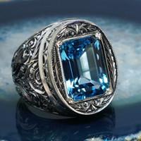Европейский и американский стиль ретро резные полые синие хрустальные кольца роскошный дворец стиль ювелирных изделий партии ювелирных изделий размер 6-10