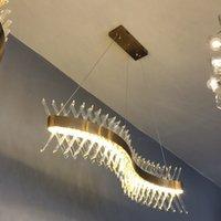 Design de vague Longue Crystal Lustre LED Lampe AC110V 220V Lustre Cristal Cristal Kronleuchter Home Lighting Bar Lignaria Bar Salle de salle à manger Escalier