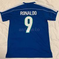 1998 Brasil 레트로 축구 유니폼 빈티지 클래식 Ronaldo 9 Rivaldo 10 R.Carlos 6 Cafu 2 Dunga 8 Brazilde 태국어 품질 유니폼 축구 셔츠 카메인 Futbol 크기 S-XXL