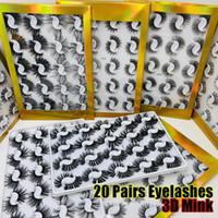 20 زوجا / محاصر 25mm مختلط أنماط 3D المنك أدوات الرموش الصناعية ماكياج الطبيعي لونغ جلدة اليدوية Wispies كثيف منفوش مثير العين