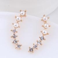 Pendientes 2020 pendiente geométrica del color oro para la joyería de las mujeres pendientes de la perla de imitación de cristal Bijoux Nueva Pendientes Moda