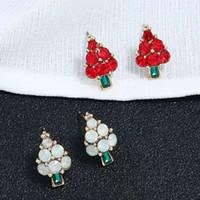 도매 - 트리의 매력 귀걸이 크리스탈 다이아몬드 귀걸이는 흰색, 녹색 귀 스터드 크리스마스 보석 무료 배송 메리 빨간색