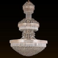 luxe européen de grands lustres en cristal hall de l'hôtel villa lumière lampe pendentif conduit or américain à long éclairage lustre en cristal