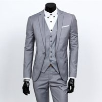 Suit Men' s Three- piece Set Casual Solid Color Small Sui...