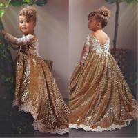 2020 glitter gold flower mädchen kleider mit weißen spitze appliques lange ärmel hi lo kodierer teens partei kommunion kleid pageant kleid