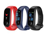 2020-New M3 Smart Watch Armband-Band-Fitness Tracker Nachrichten Erinnerung Farbe Schirm-wasserdichtes Sport-Armband für Männer Frauen