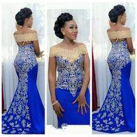 2021 вечернее платье с плеча стройное русалка золотая вышивка длиной дол африканские женщины синий формальный выпускной вечерние платья
