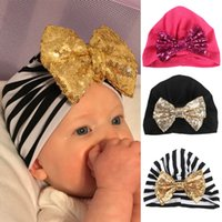 Baby Soft Cotton Hat Caps Glitter Sequins Big Bow Beanies Ha...