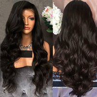 Natural Black Long Curly Wavy Cheap Synthetic Lace Front Wig...