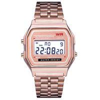 Розовое золото светодиодный цифровой смотреть F-91W часы f91 моде -тонкий светодиодный изменение часы водонепроницаемые спортивные часы для детей взрослых