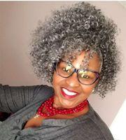 Соль и перец серый вьющиеся вьющиеся волосы хвост AFRO стиль слойки 14 дюймов серебряные серые человеческие волосы для волос нарисование для чернокожих женщин