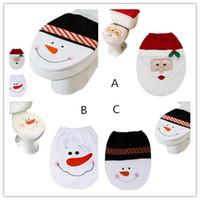 Startseite Schneemann WC-Sitzbezug und Teppich Badezimmer Set Weihnachtsdekoration