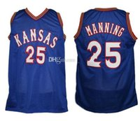 Danny Manning # 25 Kansas Jayhawks Ku Koleji Retro Basketbol Jersey Erkek Dikişli Özel Herhangi bir Numara Ad Adseys