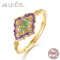Allnoel 925 Sterling Silver Anéis de Pedras Preciosas Para As Mulheres Do Vintage Real Natural Anel de Opala de Fogo Esmalte Rainbow Wedding Jóias Finas Y19051602