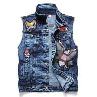 En Yeni Erkek Rozet Denim Yelek Kolsuz Jeans Ceket Moda Tasarımcısı Vintage Slim Fit Yelek Büyük boy eskitmek 913 Yıkanmış Tops