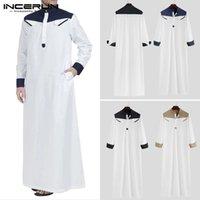 Hommes occasionnels Chemises occasionnelles Incerun Hommes Arabo Islamim Musulman Kaftan Patchwork Collier Collier manches longues Robes Lâce Saudi Arabie Dubai S-5XL
