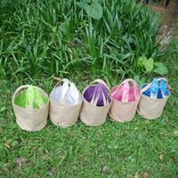 Orejas bolsa de arpillera de yute Cubo Pascua cesta con el conejito de almacenamiento Bolsas de bricolaje orejas de conejo lindo regalos de Pascua bolso Ponga los huevos de Pascua Bolsa caliente INS