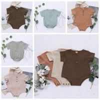 Çocuklar Tasarımcı Giyim Bebek Yaz Kısa Kollu Tulumlar Yenidoğan Pamuk Keten tulum Çocuk Casual Nefes Katı bodysuit 5 Renk ZYQ456