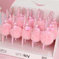 Okul Yazma Kız Hediyeler Kawaii Nötr Kalemler Okulu 1pc Pembe Flamingo Jel Kalem Güzel Peluş Swan Kalemler Kırtasiye