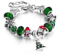 Braccialetto fatto a mano europeo e americano Albero di Natale Babbo Natale Orso lega grande braccialetto di perline foro 19cm + 3cm W702
