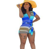 Женская Летняя одежда Мода V-образным вырезом Комбинезоны женские Красочный Полосатый Bodysuit Rompers Женские Костюмы Casual Цельный Одежда D52214LY