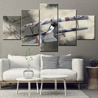 HD Printed 5 Piece Canvas Art Two Battle Planes Painting Wal...