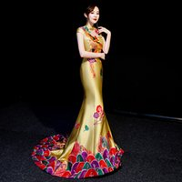 Fishtail Luxury Cheongsam Embroidery vintage pattern gown Tr...