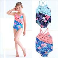 الطفل ملابس الفتيات من قطعة واحدة بيكيني أطفال زهرة الزهور ملابس الطفل مطبوعة المايوه الصيف ثوب السباحة مايوه دي باين الملابس E327