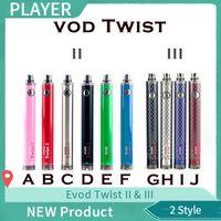 NOVA Embalagem venda Quente Evod Twist II 2 VV bateria 1600 mAh Tensão variável 3.3 v-4.8 v bateria VS tesla sidewinder 2 bateria 0204118