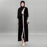 Etnik Giyim Müslüman Kadife Abaya Boncuk Uzun Robe Tunik Kimono Ramazan İslam İbadet Servisi Hırka Nakış Dantel Maxi Elbise
