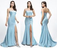 2019 ligero cielo azul gradiente brillante reflectante sirena vestidos de baile de fiesta yoasf aljasti sexy split sin tirantes africanos árabe tarde vestido formal