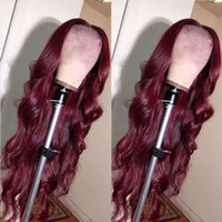 Burgundy Body wave Lace Front Synthetic Wigs For Black Women...