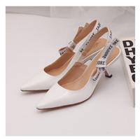 Venta caliente- letra arco zapatos de tacón alto mujer pista punta puntiaguda punta baja tacón zapatos mujer gladiaor sandalias señora marca diseño zapatos planos