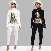 Donne 2 pantaloni pezzo set di stampa divisa autunno inverno abbigliamento palestra felpa pullover tuta con cappuccio leggings abiti body outerwear 2251