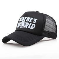 Commercio all'ingrosso Waynes Nero World Baseball Caps Hip Hop unisex Cappello Sunhat Wayne Cappello mondo costume ricamato Cappelli Mesh Trucker papà