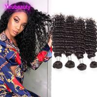 Brasilianische jungfräuliche Haarerweiterungen 4 Bündel Tiefwelle lockig unverarbeitete menschliche Haare 4 Stücke / Los spürten Gewebe Natürliche Farbe