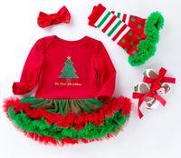 Noel Kız Bebek Giydirme Çocuk kıyafetler 4adet Şort Uzun Kollu Romper Elbise + Ayakkabı + Destek Çorap + Kafa Eşofman Tasarımcı giydirmek ayarlar