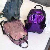 Fashion Women Glitter Sequins Backpack Teenage Girls Schoolb...